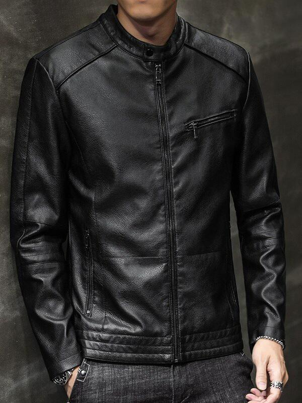 Black Artificial Leather Jacket for Men