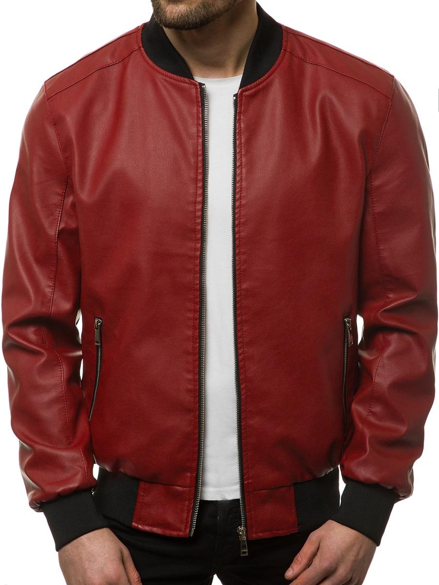 Red Artificial Leather Jacket for Men