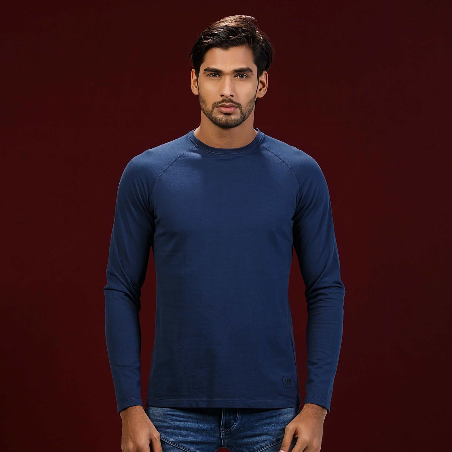 Blue Round Neck Regular T-Shirt For Men