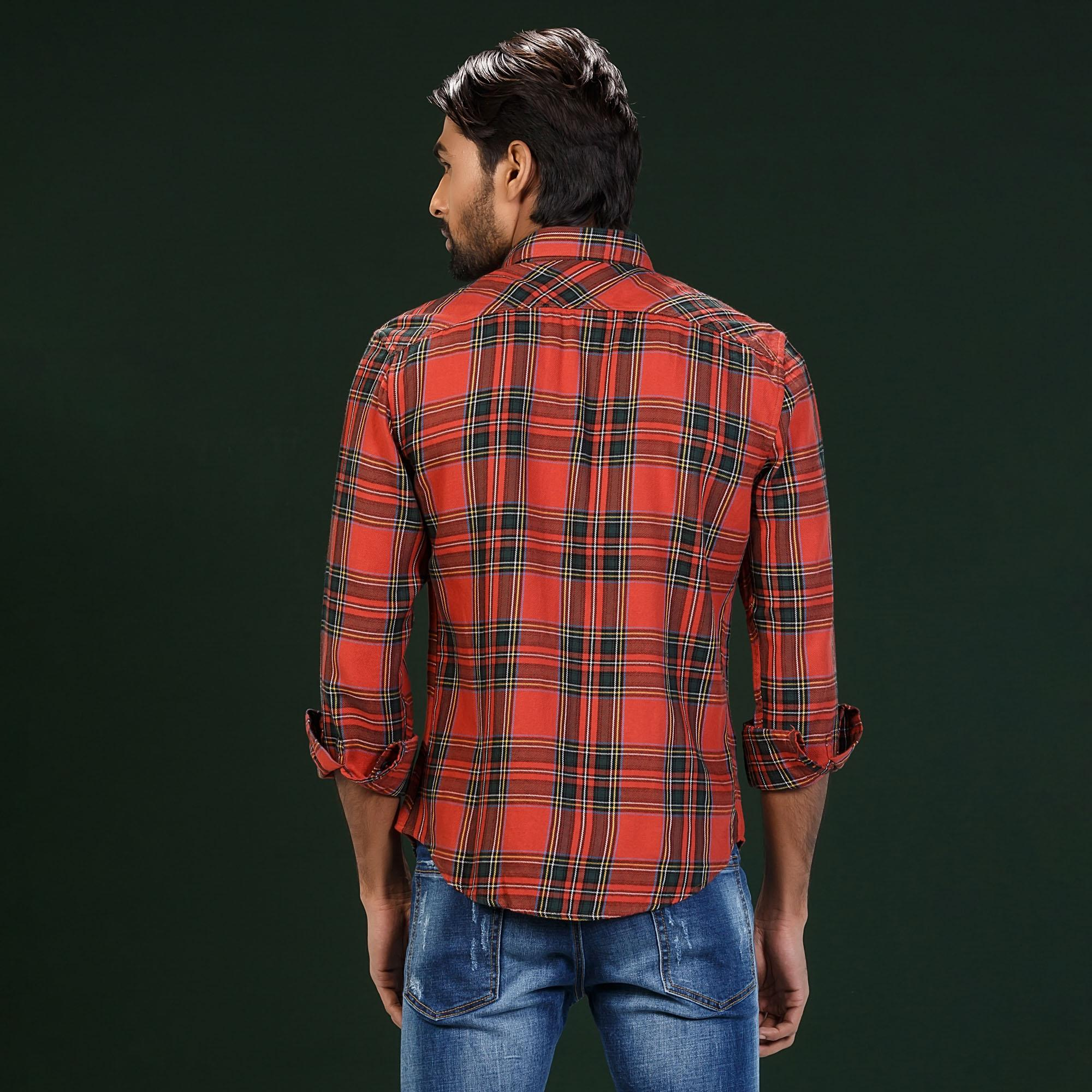 Red Flaanel Check Shirt For Men