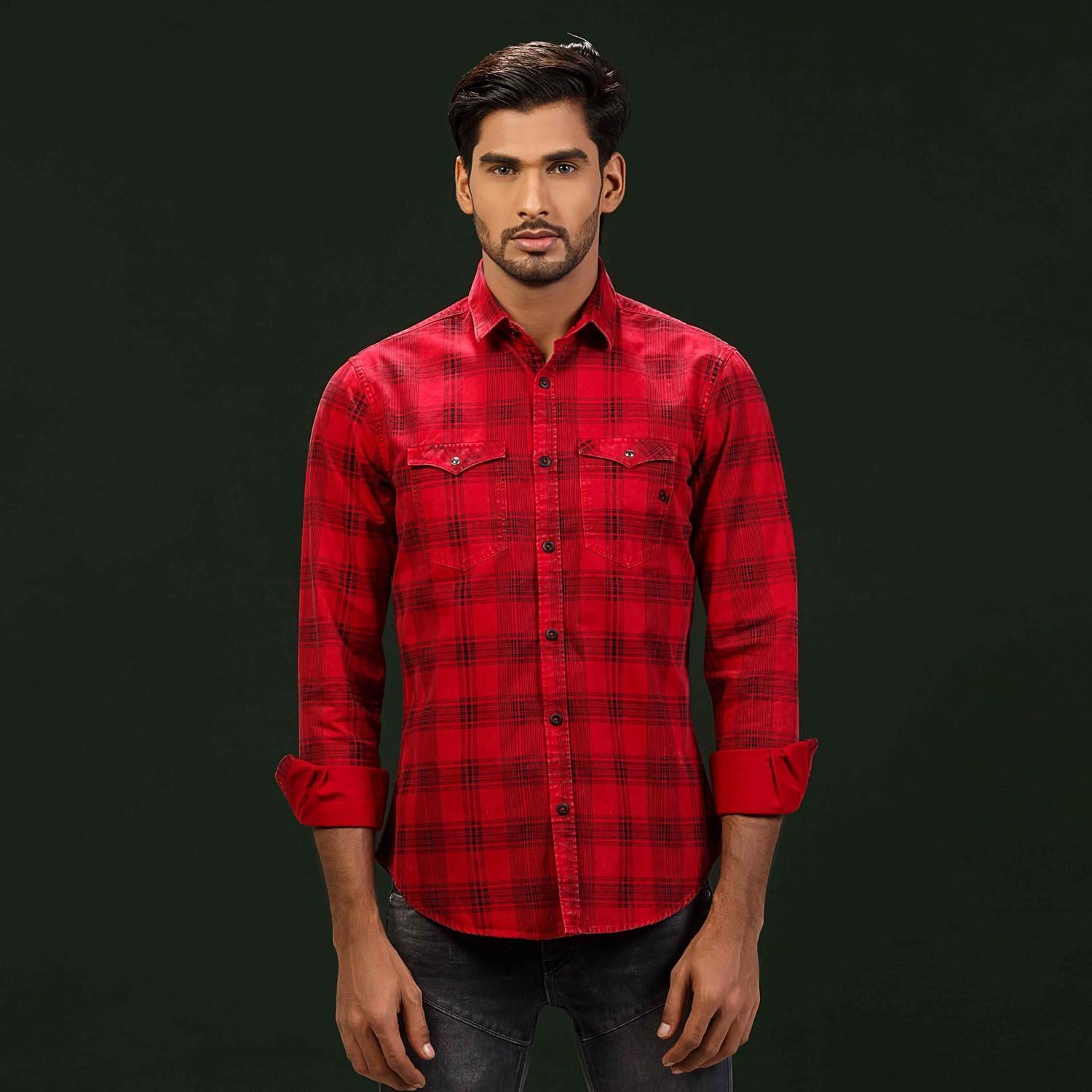 Maroon Classic Chest Double Pocket Shirt