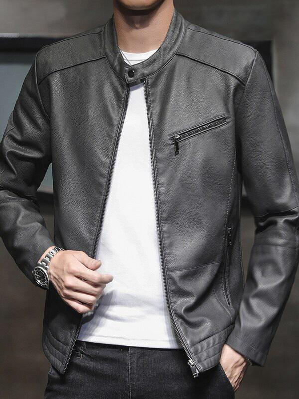 Ash Artificial Leather Jacket for Men