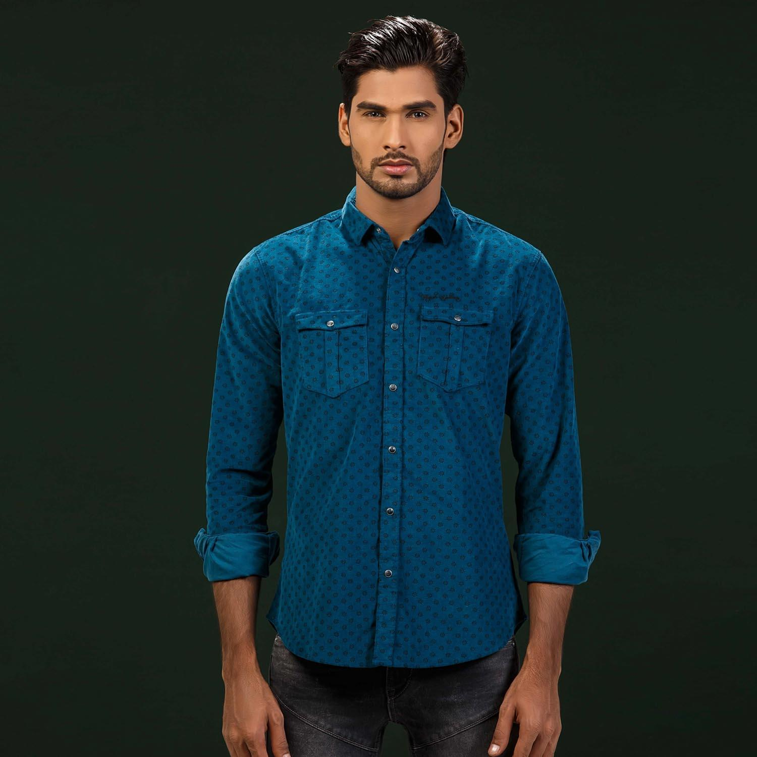 Blue All-Over Printed Classic Corduroy Shirt