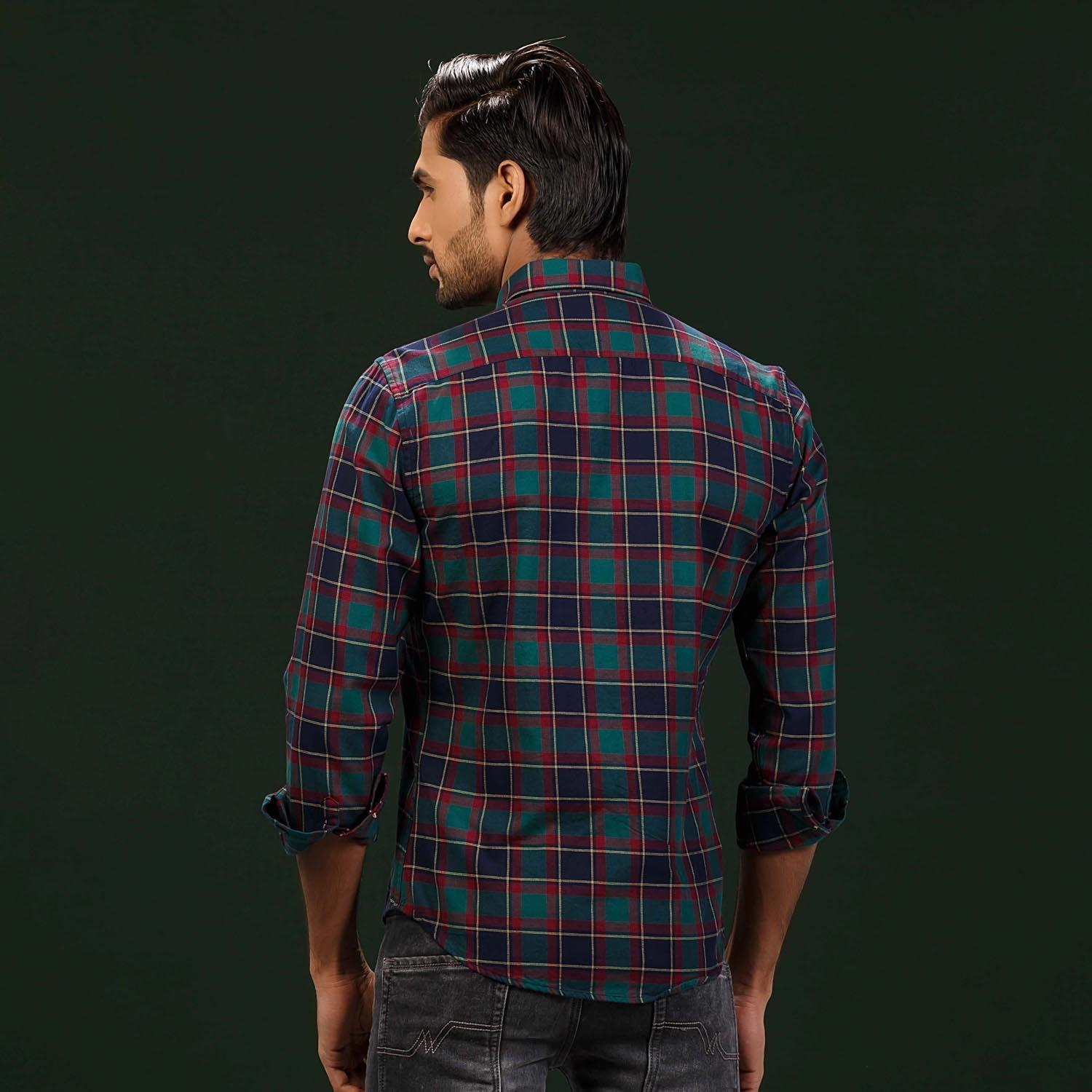 Green Button Gown Classic Check Shirt