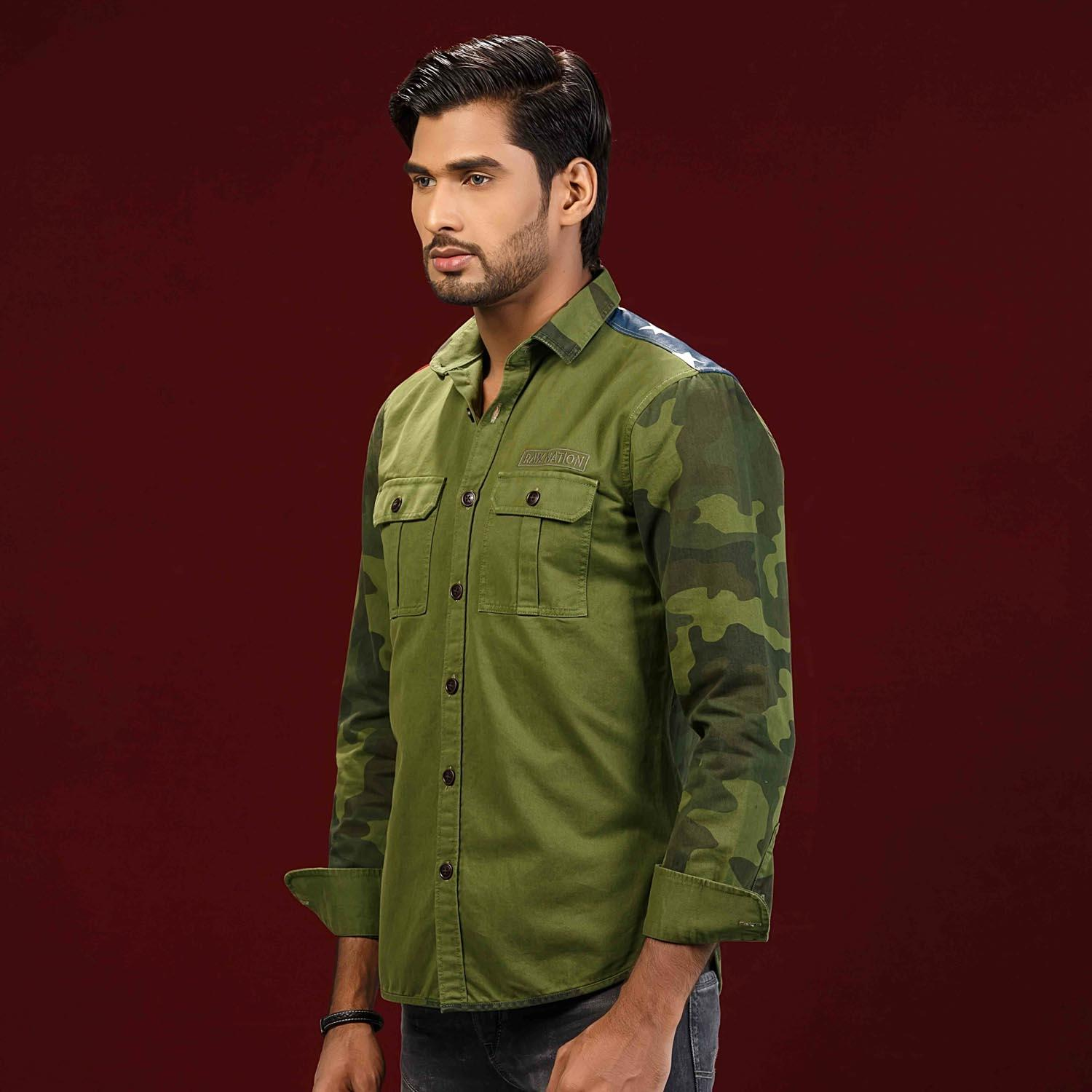 Olive Cotton Twill Camoflage Shirt