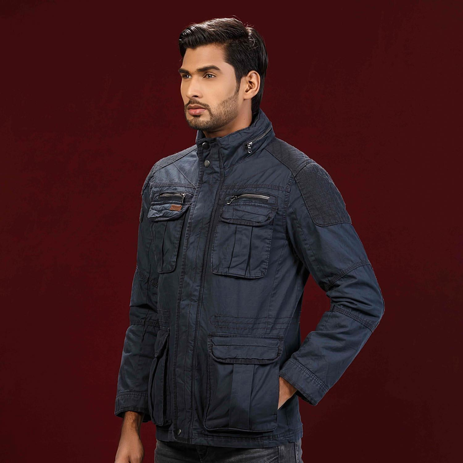 Navy Blue Quilted Twill Jacket