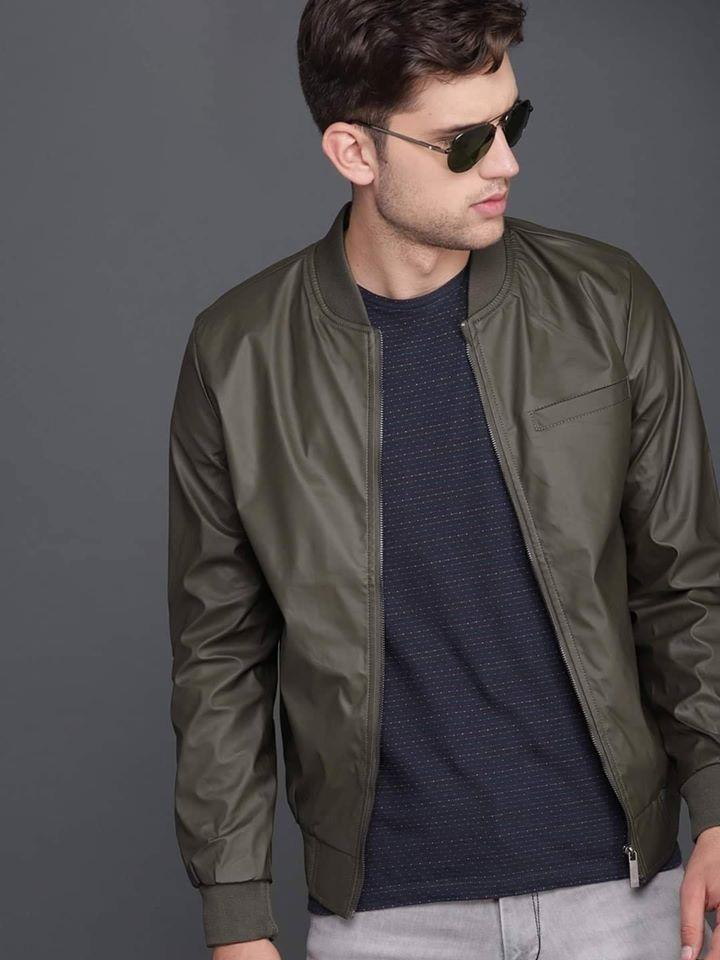 Olive Artificial Leather Jacket