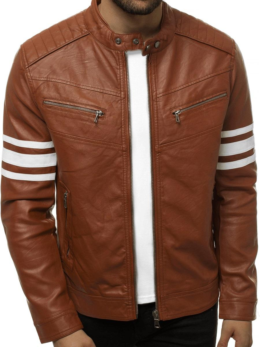 Brown Artificial Leather Jacket for Men