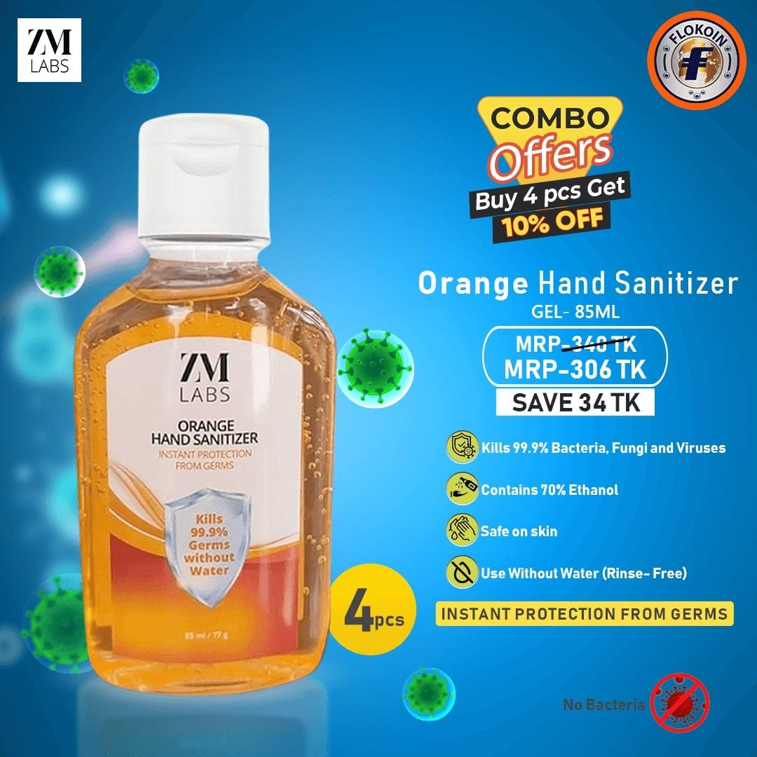 4 pcs ZM LABS ORANGE Hand Sanitizer