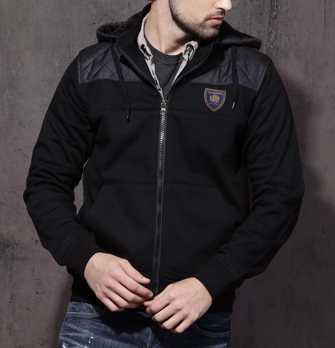 Men Hooded Black Jackets