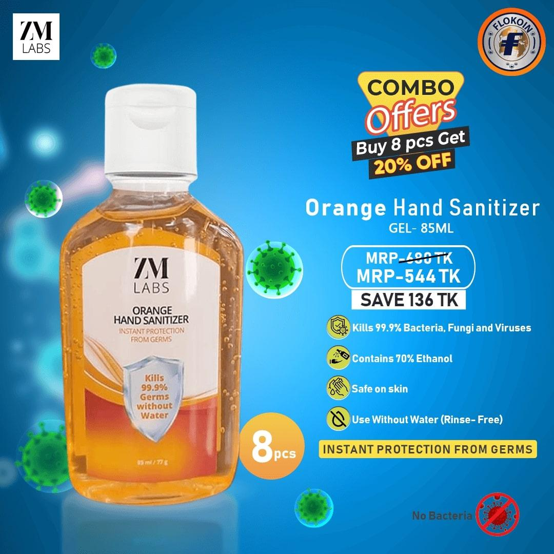 8 pcs ZM LABS ORANGE Hand Sanitizer