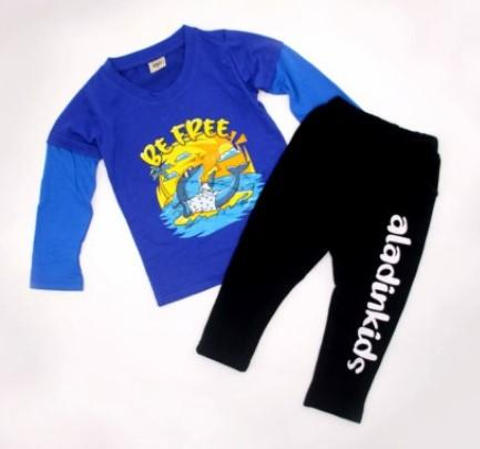 Royal Blue Cotton Long Sleeve T-Shirt and Full Pant Set For Boys