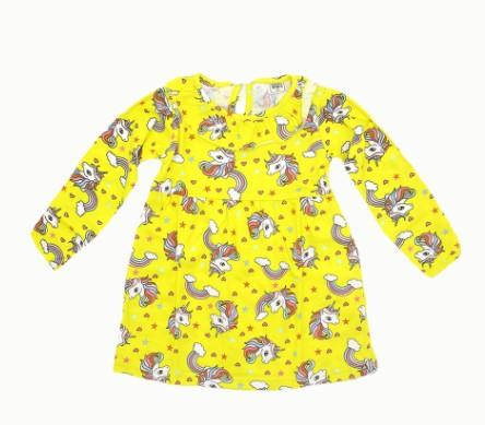 Yellow Cotton Long Sleeve Winter Frock For Girls