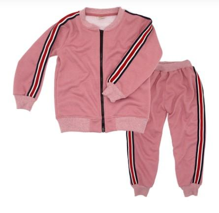 Sweet Pink Cotton Long Sleeve Jacket and Trouser For Girls