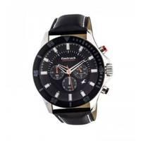 Fastrack Black Leather Chronograph Watch for Men