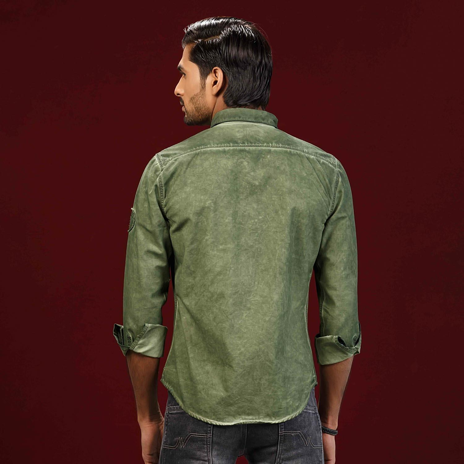 Olive Cold Pigment Dyed Twill Shirt