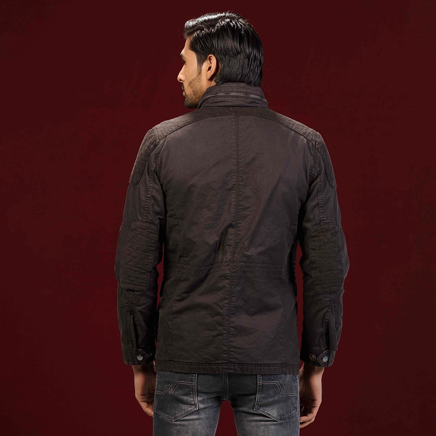 Coffee Quilted Twill Jacket